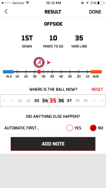 Penalty Result Screen