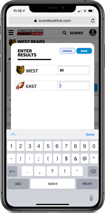 Score Entry in Phone